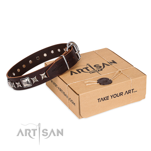 Daily use dog collar of best quality genuine leather with embellishments