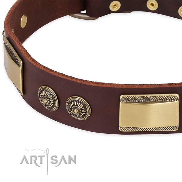 Unique full grain genuine leather collar for your beautiful canine