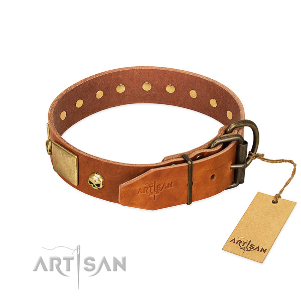 High quality leather dog collar with corrosion proof decorations