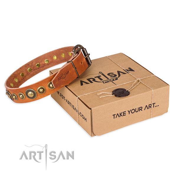 Top rate natural genuine leather dog collar made for daily walking