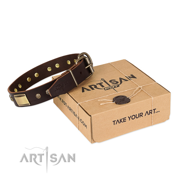 Perfect fit full grain genuine leather collar for your beautiful doggie