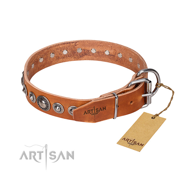 Full grain natural leather dog collar made of top rate material with rust resistant studs