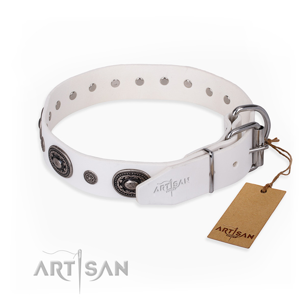 Soft leather dog collar created for easy wearing