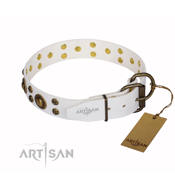 Basic training decorated dog collar of fine quality genuine leather