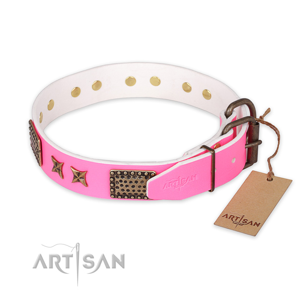 Durable fittings on natural genuine leather collar for your handsome doggie