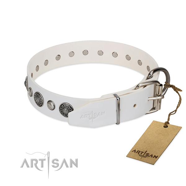Top rate Full grain natural leather dog collar with rust-proof hardware