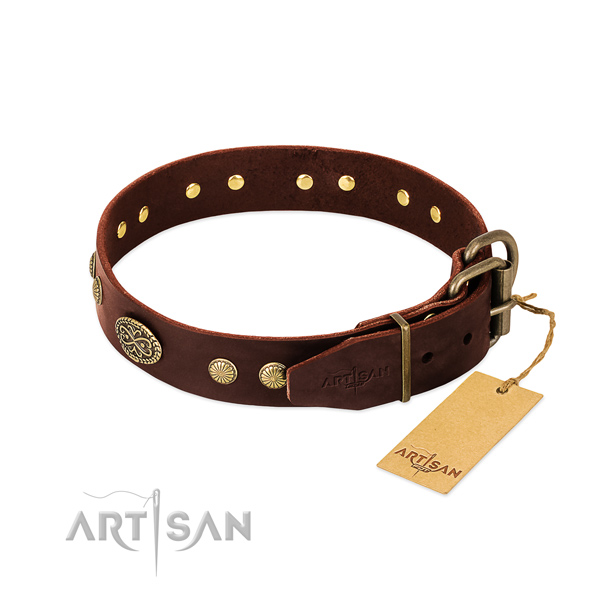 Reliable hardware on leather dog collar for your four-legged friend