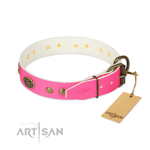 Corrosion proof fittings on genuine leather dog collar for your doggie