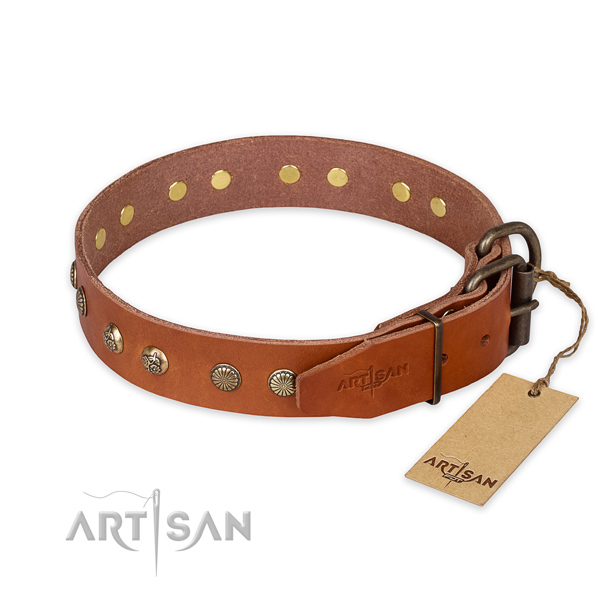 Rust resistant D-ring on natural genuine leather collar for your impressive canine