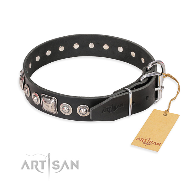 Genuine leather dog collar made of flexible material with reliable decorations