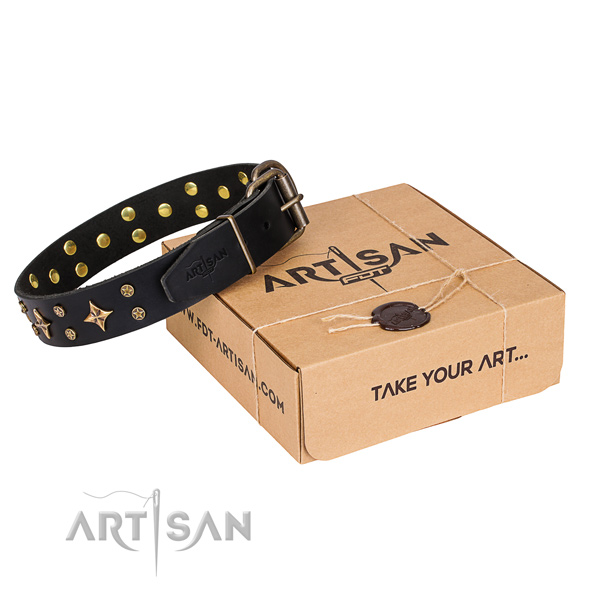 Comfortable wearing dog collar of quality genuine leather with adornments