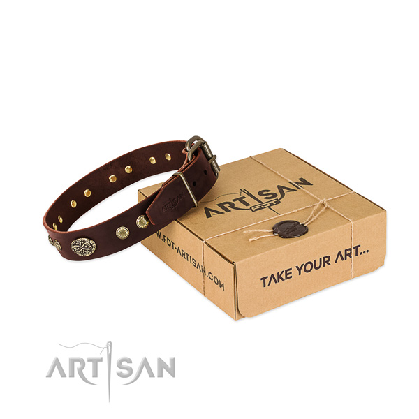Durable embellishments on Genuine leather dog collar for your pet