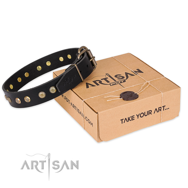 Reliable hardware on natural genuine leather collar for your beautiful doggie