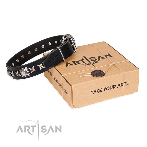 Everyday walking dog collar of strong full grain genuine leather with decorations