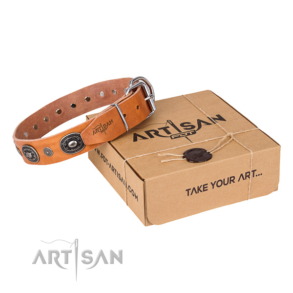 Reliable natural genuine leather dog collar handcrafted for comfortable wearing