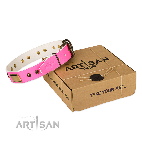Convenient natural genuine leather collar for your beautiful doggie