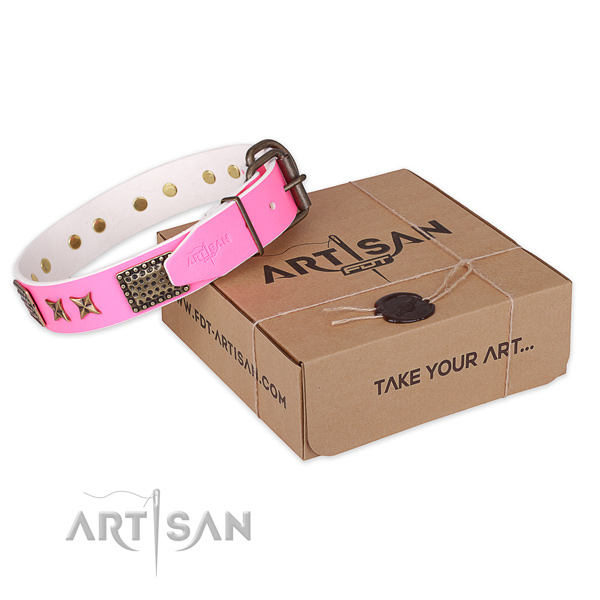 Corrosion resistant hardware on genuine leather collar for your impressive pet