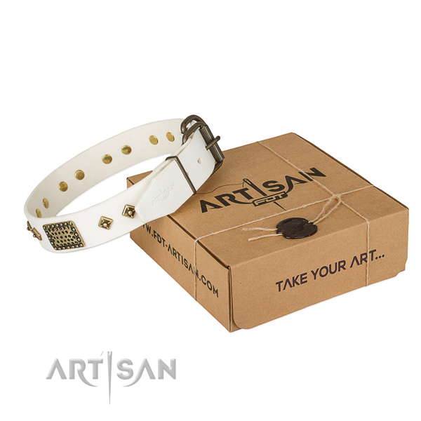 Awesome full grain genuine leather collar for your stylish canine