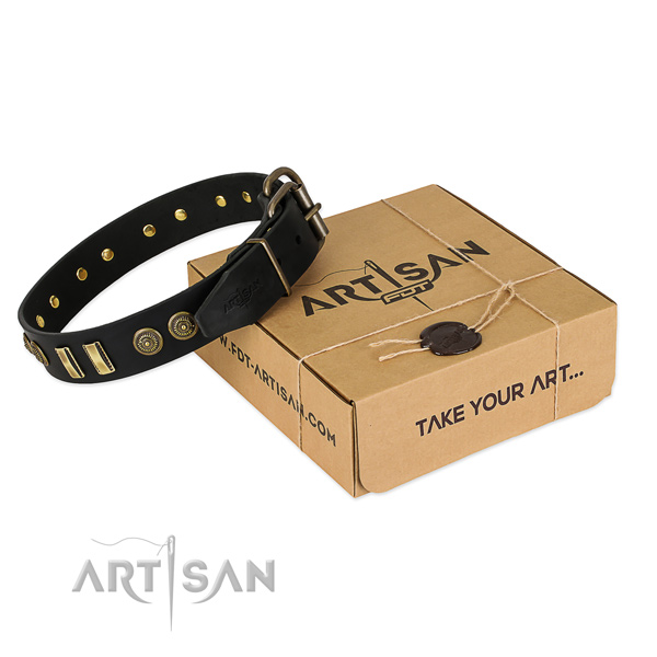 Reliable traditional buckle on natural leather dog collar for your canine