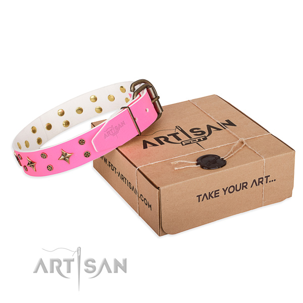 Daily use dog collar of fine quality genuine leather with embellishments