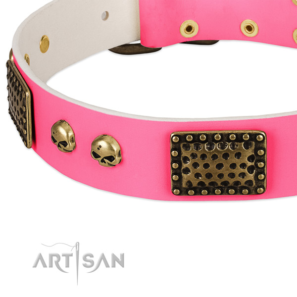 Rust resistant D-ring on full grain natural leather dog collar for your pet