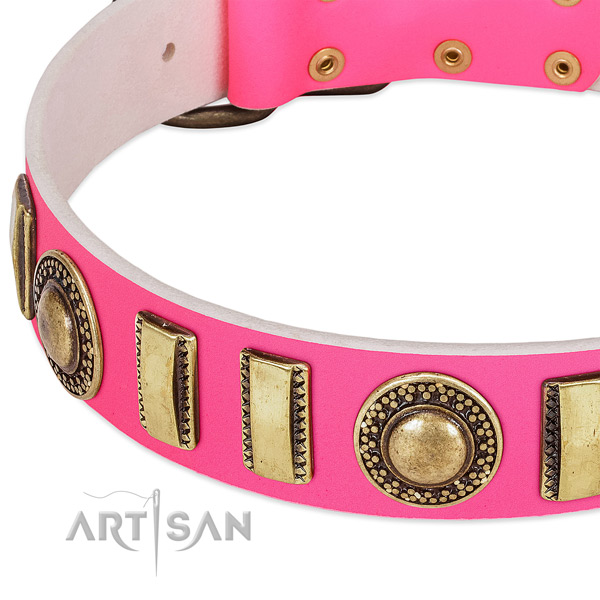 Soft full grain natural leather dog collar for your stylish dog