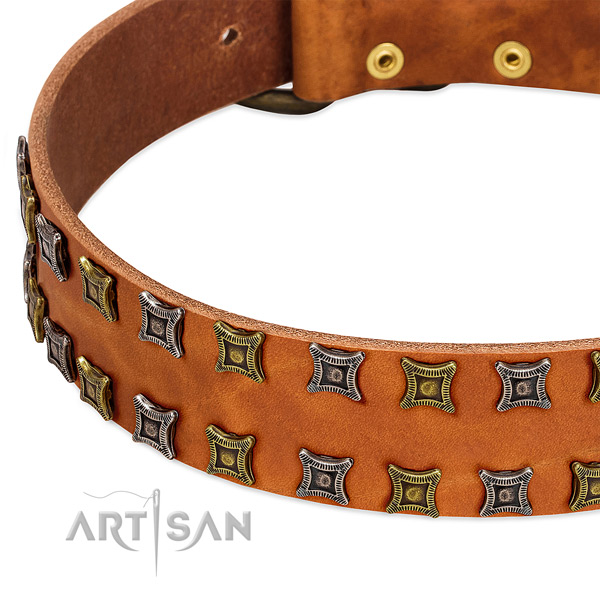 Flexible full grain genuine leather dog collar for your stylish pet