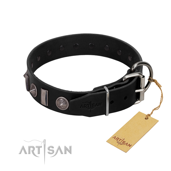Best quality full grain natural leather dog collar with decorations for your handsome pet