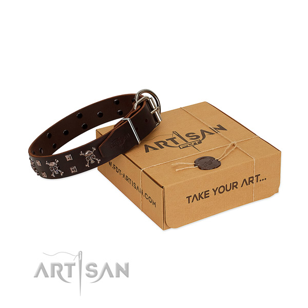 Durable full grain genuine leather dog collar with rust resistant hardware