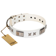 """Bling-Bling"" FDT Artisan White Leather Amstaff Collar with Sparkling Stars and Plates"