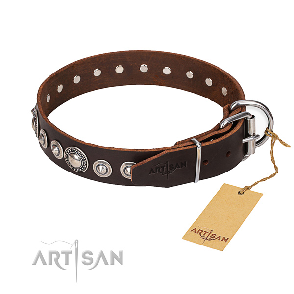 Full grain leather dog collar made of top notch material with corrosion resistant hardware