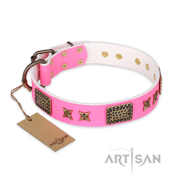 Comfortable natural genuine leather dog collar with strong fittings