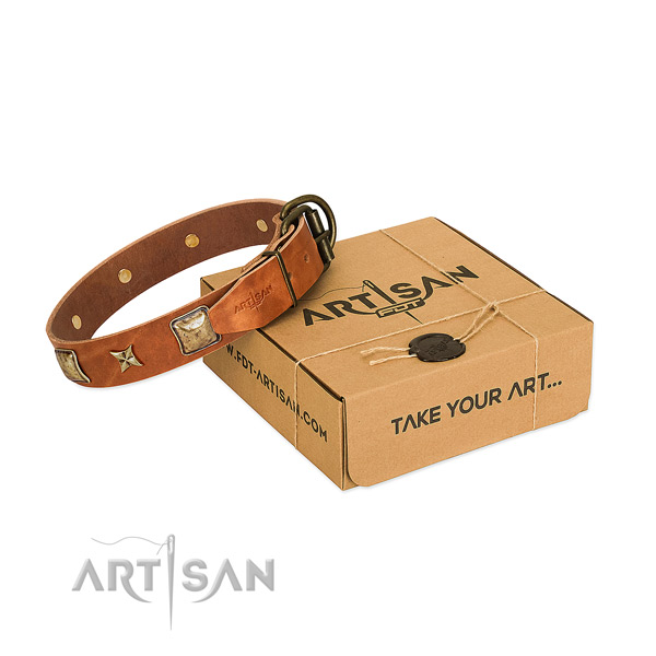 Top quality natural genuine leather collar for your impressive canine
