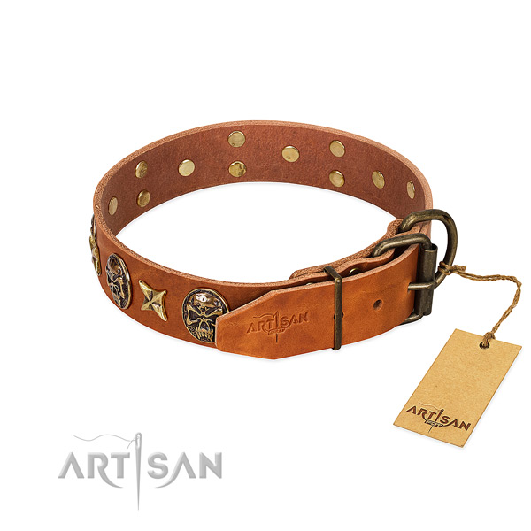 Natural genuine leather dog collar with durable hardware and studs
