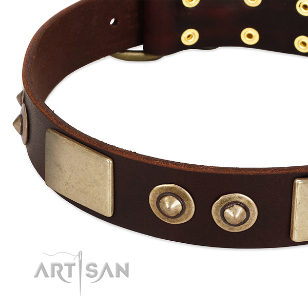 Strong traditional buckle on full grain natural leather dog collar for your doggie