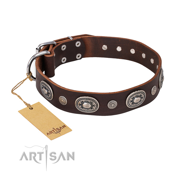 Soft to touch genuine leather collar crafted for your four-legged friend