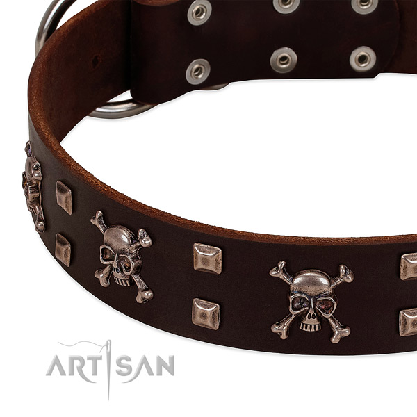 Unique full grain genuine leather collar for your four-legged friend