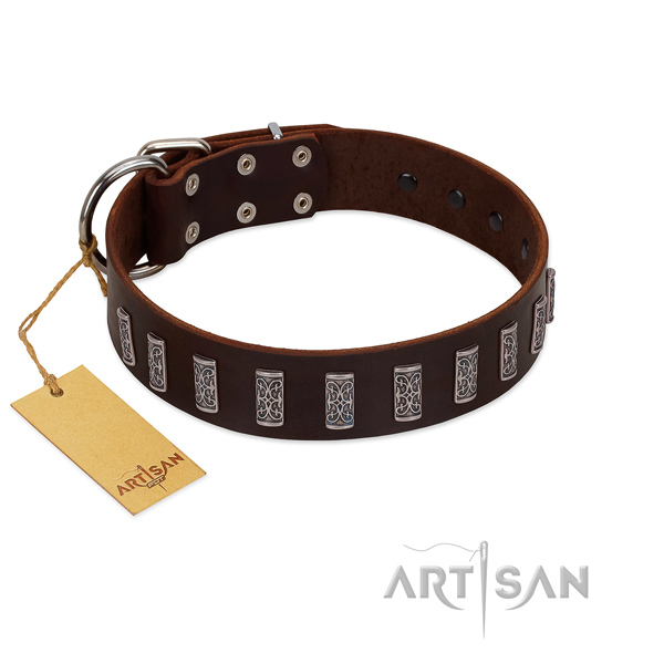 Top notch full grain natural leather dog collar with rust-proof fittings