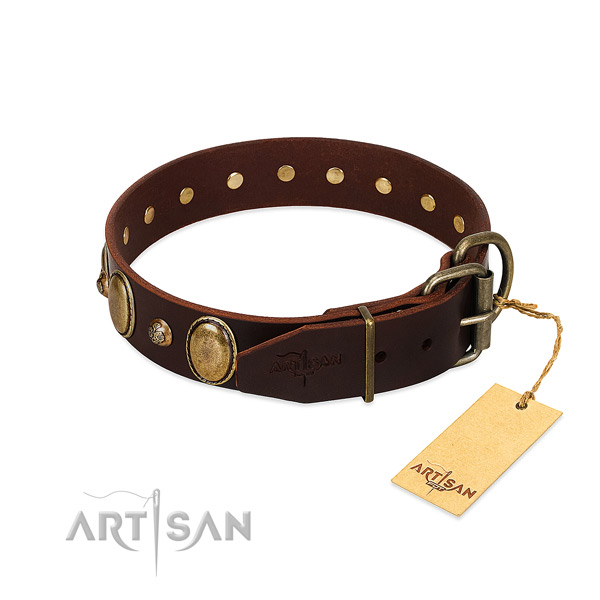 Rust-proof D-ring on full grain leather collar for stylish walking your pet