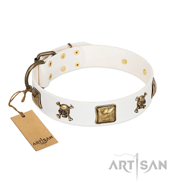 Easy wearing gentle to touch full grain leather dog collar with embellishments