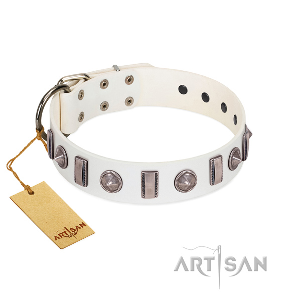 Soft to touch natural leather dog collar with decorations for your doggie