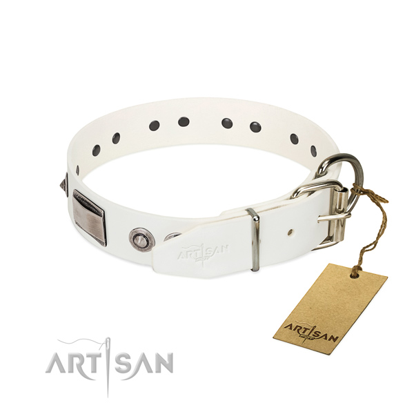 Best quality natural leather collar with decorations for your dog