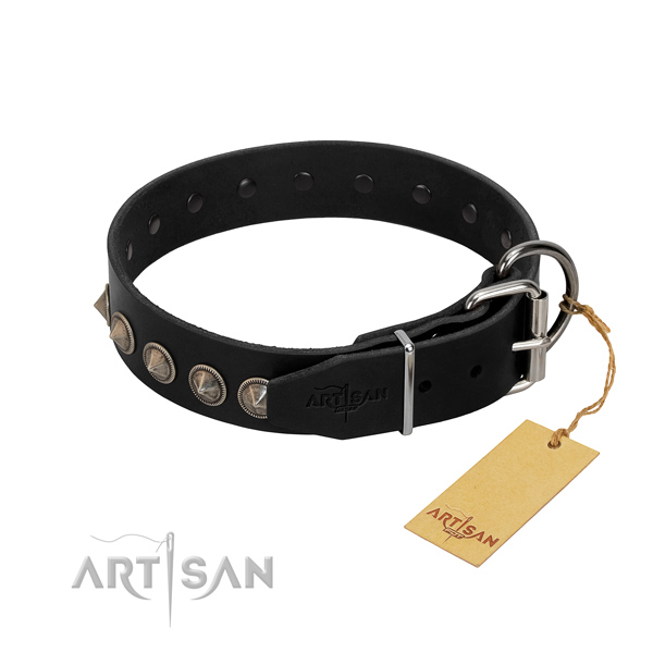 Impressive decorated genuine leather dog collar for comfortable wearing