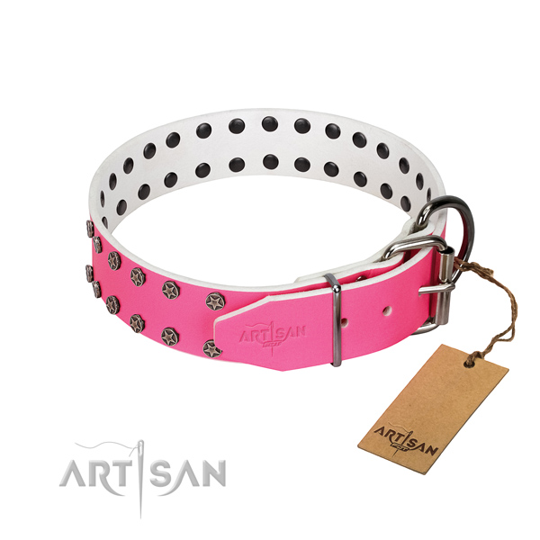 Top notch full grain natural leather dog collar with decorations for your pet