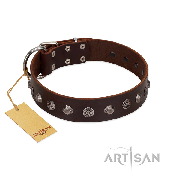 Easy adjustable genuine leather dog collar