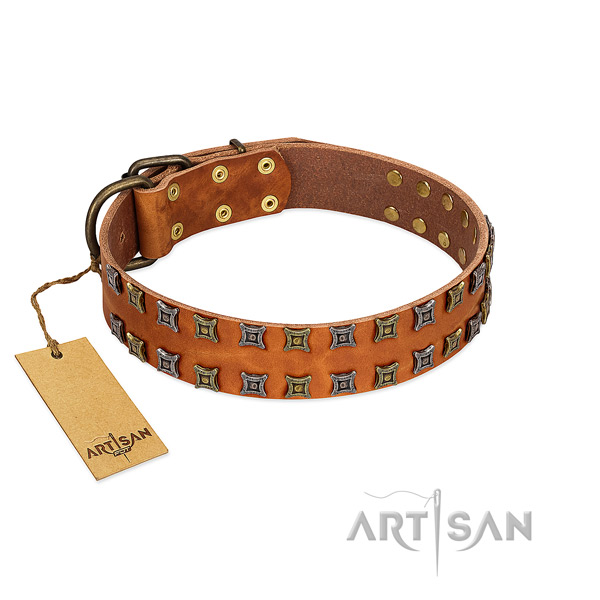 Soft genuine leather dog collar with decorations for your pet