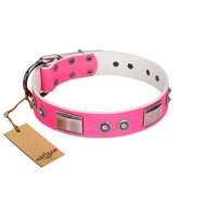 """Lady's Whim"" FDT Artisan Pink Leather Amstaff Collar with Plates and Spiked Studs"