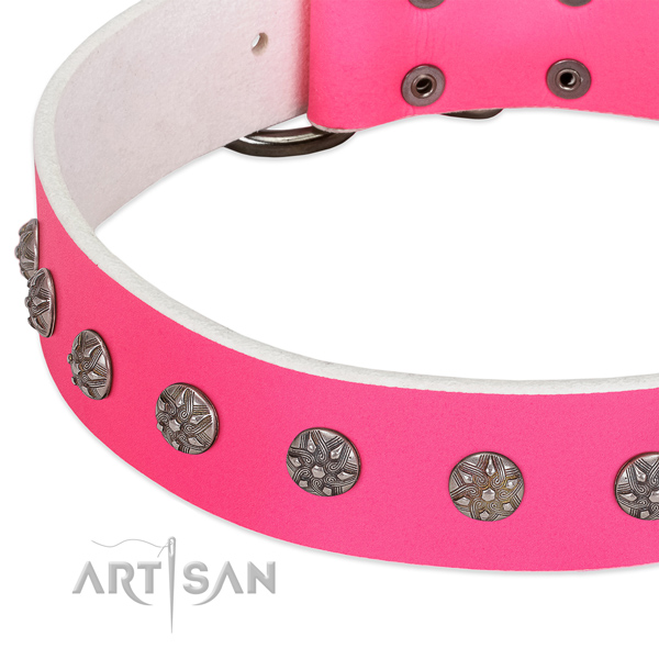 Soft full grain genuine leather dog collar with decorations for your pet