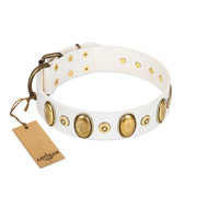 """Pearly Grace"" FDT Artisan White Leather Amstaff Collar with Engraved Ovals and Small Dotted Studs"