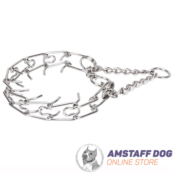 Dog prong collar of strong stainless steel for large pets